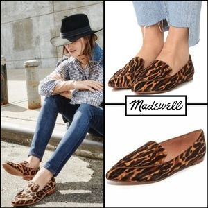 MADEWELL LOU LEOPARD CALF HAIR POINTED FLAT LOAFER